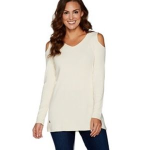 Cold shoulder sweater tunic length 2x